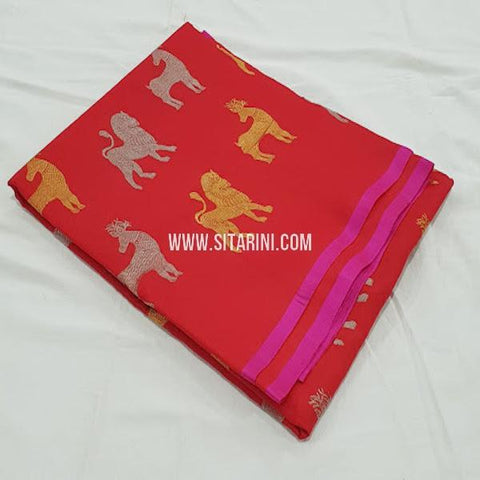 Kanchipuram Soft Silk Saree-Red-Sitarini-SITKSOSS176