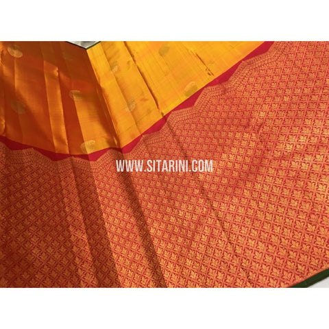 Kanjivaram Silk Sarees-Mustard Yellow and Dark Pink-Sitarini-DKHKPSS127