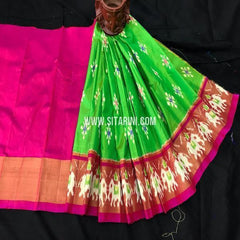 Kids Ikkat Lehenga-(0-3 Years)-Green-Sitarini-SITKIL376