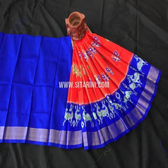 Kids Ikkat Lehenga-(0-3 Years)-Red-Sitarini-SITKIL368