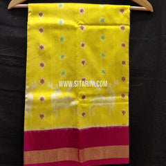 Kids Ikkat Lehenga-(0-3 Years)-Yellow-Sitarini-SITKIL331