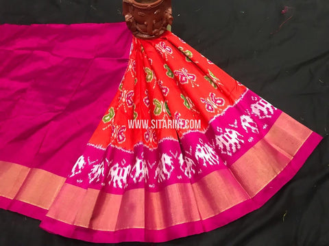 Kids Ikkat Lehenga-Pattu-Orange-Sitarini-SITKIL534
