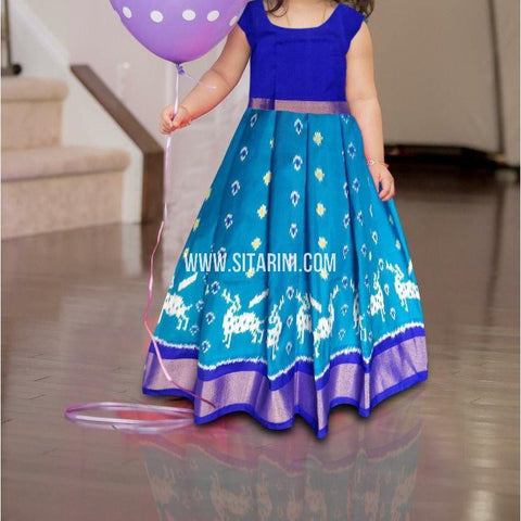 Kids Ikkat Pattu Blue Lehenga-0 to 3 years-Sitarini-PRHIPLK209
