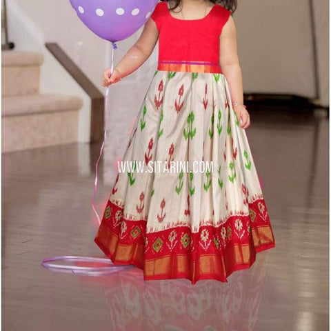 Kids Ikkat Pattu Cream Lehenga-0 to 3 years-Sitarini-PRHIPLK216