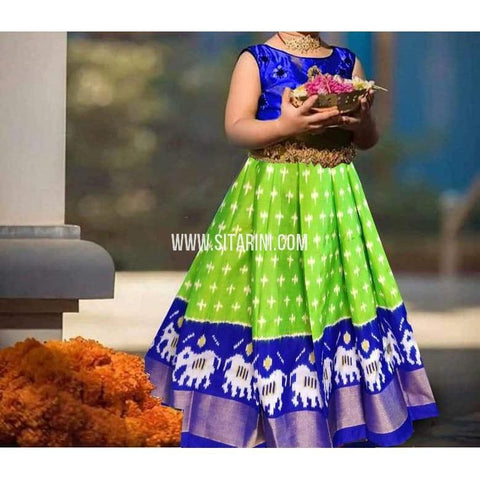 Kids Ikkat Pattu Green Lehenga-0 to 3 years-Sitarini-PRHIPLK218