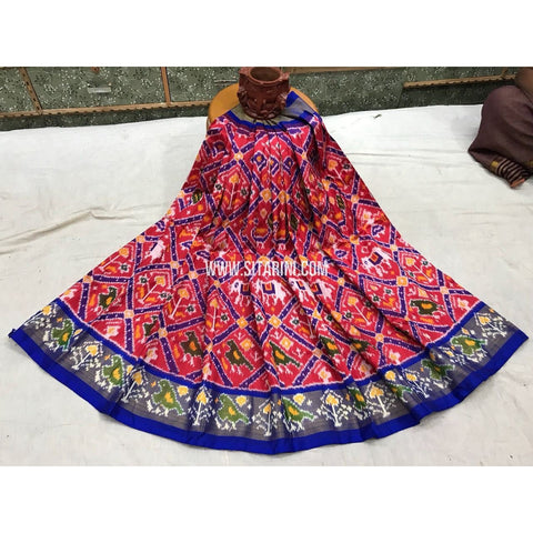 Kids Ikkat Pattu-Half Saree-Orange and Royal Blue-3 to 8 Years-Sitarini-PGMHIPLK138