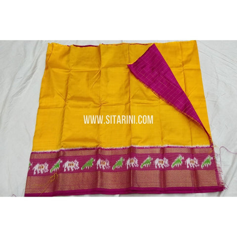 Kids Ikkat Pattu Langa-Yellow and Pink-0 to 3 years-Sitarini-SITKIL171