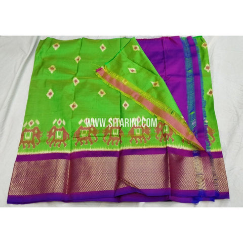 Kids Ikkat Pattu Lehanga-Green and Purple-Sitarini-PSHIPLK147