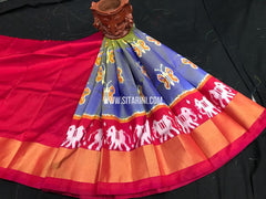Kids Ikkat Pattu Lehenga-Blue-(0-3 Years)-Sitarini-SITKIL545
