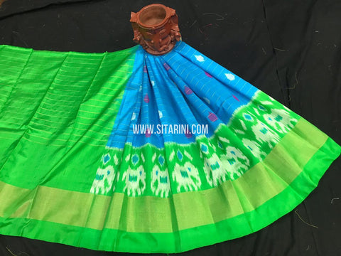 Kids Ikkat Pattu Lehenga-Blue-(0-3 Years)-Sitarini-SITKIL547