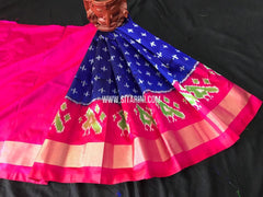 Kids Ikkat Pattu Lehenga-Blue-(0-3 Years)-Sitarini-SITKIL553