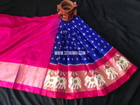 Kids Ikkat Pattu Lehenga-Blue-(0-3 Years)-Sitarini-SITKIL554