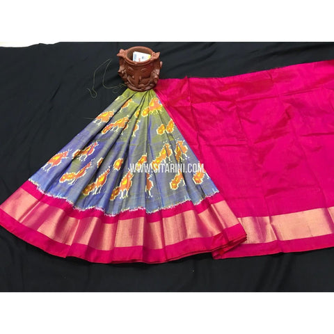 Kids Ikkat Pattu Lehenga-Dark Pink and Blue Shade-0 to 3 Years-PGMHIPLK207