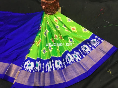 Kids Ikkat Pattu Lehenga-Green-(0-3 Years)-Sitarini-SITKIL543