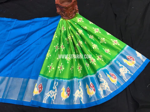 Kids Ikkat Pattu Lehenga-Green-(0-3 Years)-Sitarini-SITKIL548