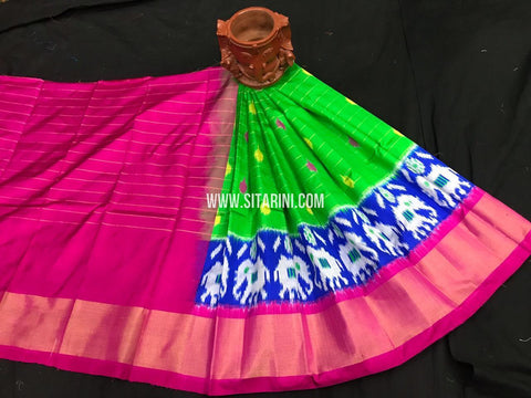 Kids Ikkat Pattu Lehenga-Green-(0-3 Years)-Sitarini-SITKIL550
