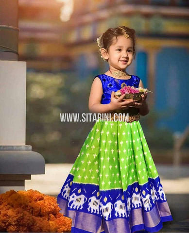 Kids Ikkat Pattu Lehenga-Green-(0-3 Years)-Sitarini-SITKIL551