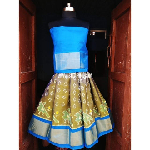 Kids Ikkat Pattu Lehenga in Light Blue and Dark Yellow Color-0 to 3 years-Sitarini-PRHIPLK117