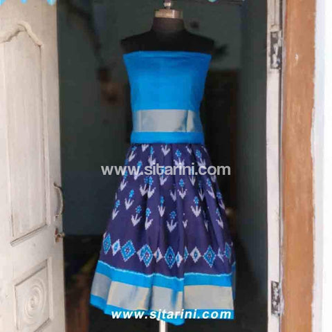 Kids Ikkat Pattu Lehenga in Light Blue and Royal Blue Color-0 to 3 years-Sitarini-PRHIPLK102