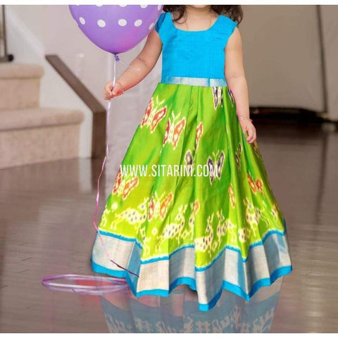 Kids Ikkat Pattu Lehenga in Light Green-0 to 3 years-Sitarini-PRHIPLK183