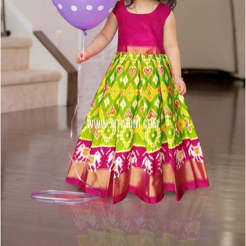 Kids Ikkat Pattu Lehenga in Light Green-0 to 3 years-Sitarini-PRHIPLK193
