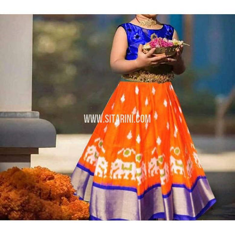 Kids Ikkat Pattu Lehenga in Orange-0 to 3 years-Sitarini-PRHIPLK190