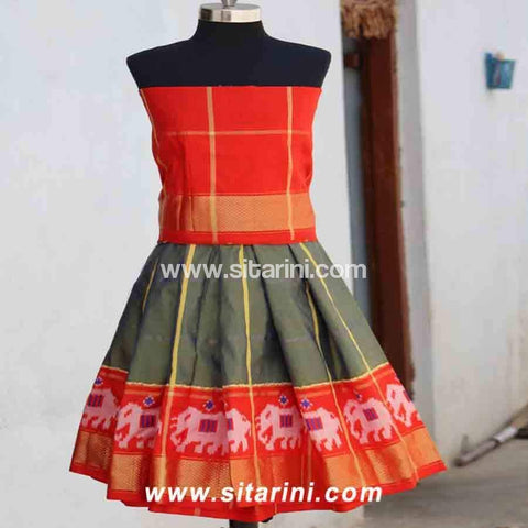 Kids Ikkat Pattu Lehenga in Orange and Cement Color-0 to 3 years-Sitarini-PRHIPLK109