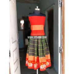Kids Ikkat Pattu Lehenga in Orange and Grey Color-0 to 3 years-Sitarini-PRHIPLK126