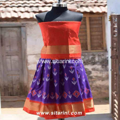 Kids Ikkat Pattu Lehenga in Orange and Purple Color-0 to 3 years-Sitarini-PRHIPLK106