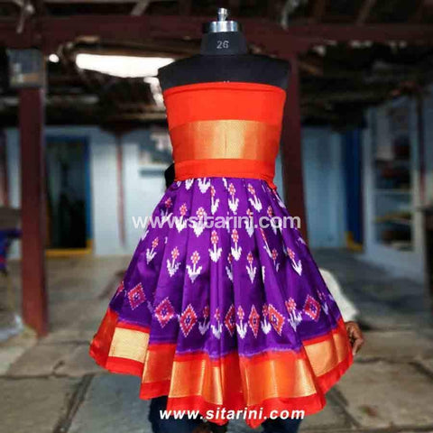 Kids Ikkat Pattu Lehenga in Orange and Purple Color-0 to 3 years-Sitarini-PRHIPLK107