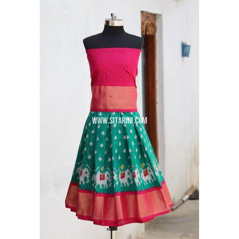Kids Ikkat Pattu Lehenga in Pink and Sea Green Color-0 to 3 years-Sitarini-PRHIPLK127