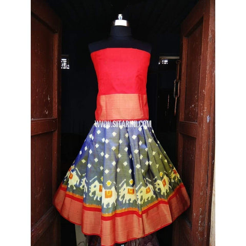 Kids Ikkat Pattu Lehenga in Red and Grey Color-0 to 3 years-Sitarini-PRHIPLK123
