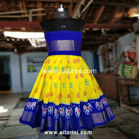 Kids Ikkat Pattu Lehenga in Royal Blue and Yellow Color-0 to 3 years-Sitarini-PRHIPLK104