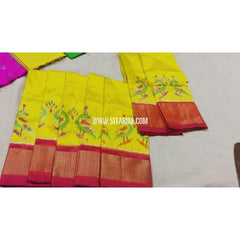 Kids Ikkat Pattu Lehenga in Yellow and Dark Pink Color-0 to 3 years-Sitarini-PRHIPLK122