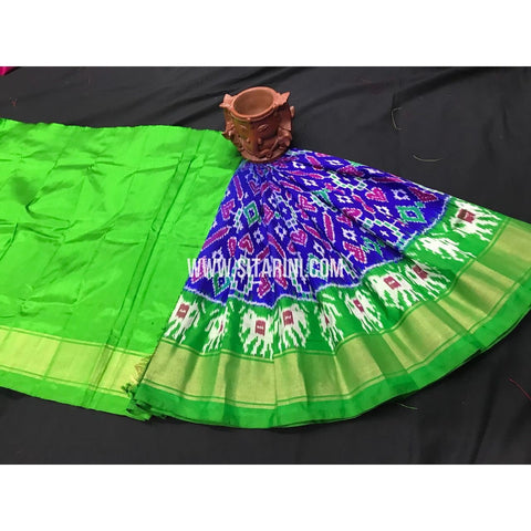 Kids Ikkat Pattu Lehenga-Light Green and Royal Blue-0 to 3 Years-PGMHIPLK194