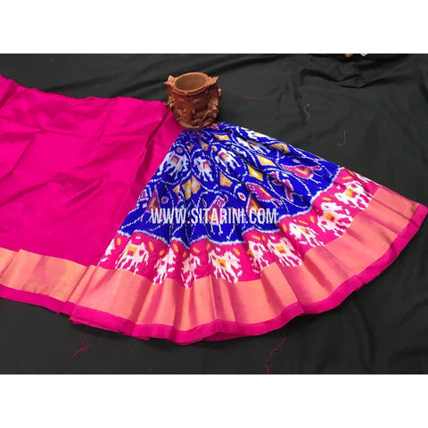 Kids Ikkat Pattu Lehenga-Magenta and Royal Blue-0 to 3 Years-PGMHIPLK187