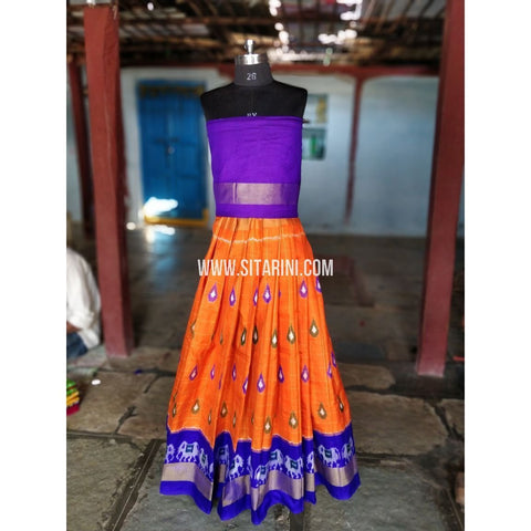 Kids Ikkat Pattu Lehenga-Purple and Orange-PRRHIPL154
