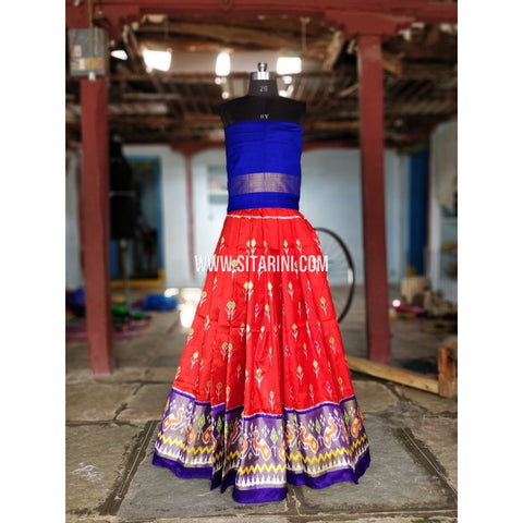 Kids Ikkat Pattu Lehenga-Royal Blue and Red-PRRHIPL155
