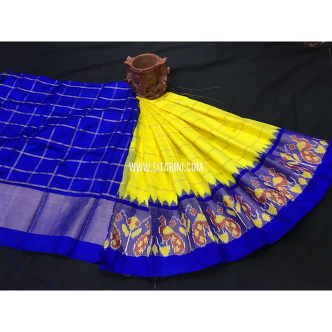 Kids Ikkat Pattu Lehenga-Royal Blue and Yellow-0 to 3 Years-PGMHIPLK204