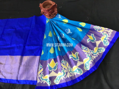 Kids Ikkat Pattu Lehenga-Skyblue-(0-3 Years)-Sitarini-SITKIL549