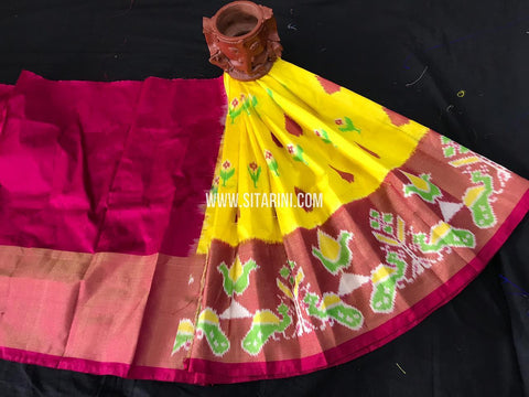 Kids Ikkat Pattu Lehenga-Yellow-(0-3 Years)-Sitarini-SITKIL544
