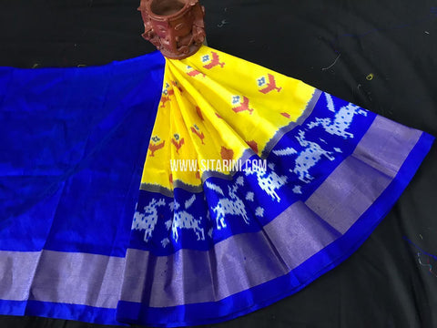 Kids Ikkat Pattu Lehenga-Yellow-(0-3 Years)-Sitarini-SITKIL552