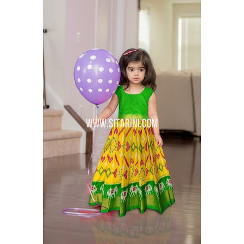 Kids Ikkat Pattu Lehenga-Yellow and Green-0 to 3 years-Sitarini-PRHIPLK231