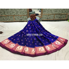 Kids Ikkat Pattu Lehengas-Blue and Peach-3 to 8 Years-Sitarini-PGMHIPLK129