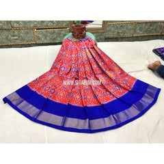 Kids Ikkat Pattu Lehengas-Orange and Royal Blue-3 to 8 Years-Sitarini-PGMHIPLK124