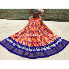 Kids Ikkat Pattu Lehengas-Orange and Royal Blue-3 to 8 Years-Sitarini-PGMHIPLK127