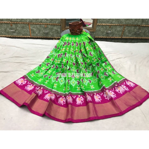 Kids Ikkat Pattu Lehengas-Parrot Green and Pink-3 to 8 Years-Sitarini-PGMHIPLK126