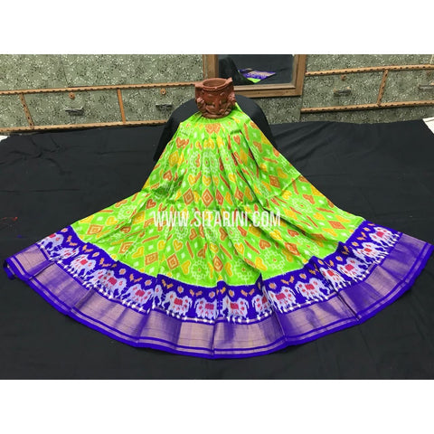 Kids Ikkat Pattu Pavada-Green and Blue-3 to 8 Years-Sitarini-SITMIL172