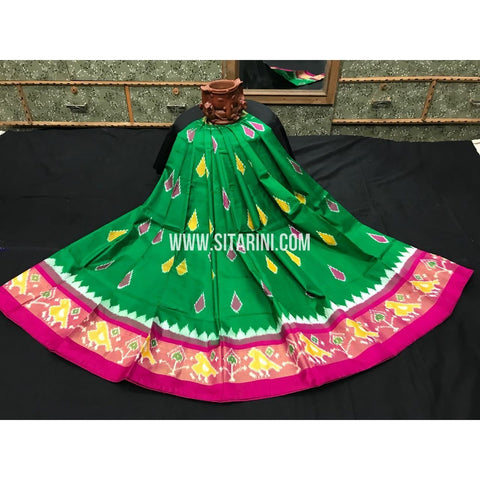 Kids Ikkat Pattu Pavada-Green and Pink-3 to 8 Years-Sitarini-SITMIL173