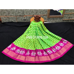 Kids Ikkat Pattu Pavada-Green and Pink-3 to 8 Years-Sitarini-SITMIL174
